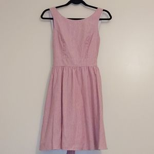 Lauren James Dark Pink & White Striped Lined Dress